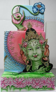 Outstanding East Indian Inspired Fondant Cake (Simply beautiful...I couldn't imagine serving this or throwing it away after a contest, etc...)