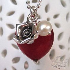 Ruby Red Murano Glass Heart Necklace.