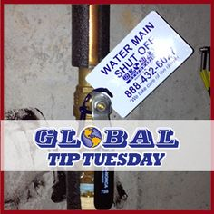 #DAMAGE #PREVENTION #TIP: Know how to shut off the #watermain in your home or business to prevent #waterdamage.     Learn more here and contact our team to send you a free shutoff valve tag! Like us at www.facebook.com/globalrestoration for tips every week!
