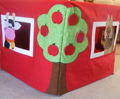 Pretend Farm Playhouse fits over card table with tractor, cows and horse--Cute Barn includes removable apples, hay, chicken and eggs. $145.00, via Etsy.