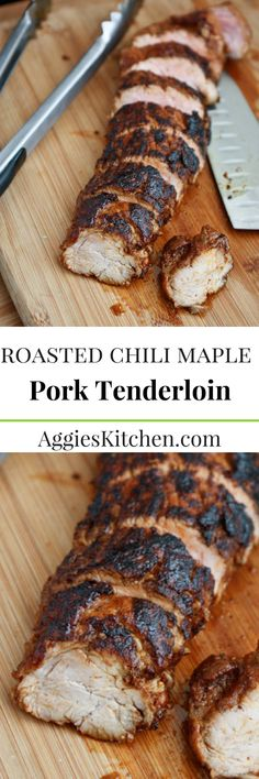 Roasted Chili Maple Pork Tenderloin is smoky sweet and cooks up fast - a perfect option for a weeknight meal. Serve along with rice and roasted vegetables for a hearty meal or over salad for a lighter option.