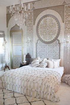 Beautiful Moroccan wedding blanket from the M.Montague Souk!  Such glamorous Moroccan design.  I love this Moroccan decor.