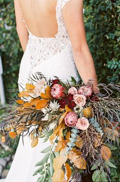 Fall bouquet with yellow, red and blush Beach Wedding Bouquets, Winter Wedding Flowers, Floral Wedding, Wedding Colors, Bouquet Wedding, Winter Bouquet, Fall Bouquets, Floral Bouquets, Winter Floral Arrangements