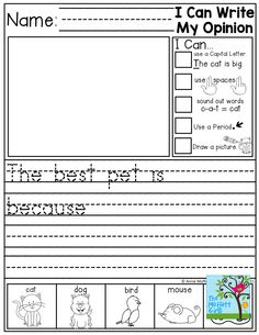 """Journal Prompts for BEGINNING and/or STRUGGLING writers! Each journal prompts has """"I Can…"""" Statements and an illustrated Word Bank to help spell words and generate ideas! 1st Grade Writing, Teaching Writing, Writing Activities, Writing Ideas, Writing Skills, Writing Lessons, Teaching Ideas, Writing Checklist, Science Writing"""