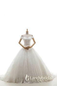 ウェディングドレス 挙式ドレス プリンセスライン オフショルダー 総レース パール CWLT1600A  税込: ¥70,200