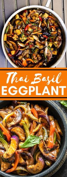Thai Basil Eggplant Recipe, Thai Basil Recipes, Vegan Eggplant Recipes, Thai Eggplant, Asian Recipes, Cooking Recipes, Vegan Recipes Healthy Clean Eating, Vegan Recipes Videos, Bon Appetit