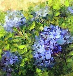 Blue Kiss Hydrangeas by Texas Flower Artist Nancy Medina - Original Fine Art for Sale - © Nancy Medina