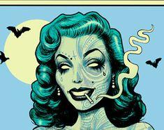Gothic Zombie Pinup Pinup Rockabilly Hotrod dark by MarcusJonesArt