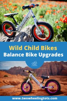 From Big Apple tires on colored aluminum rims to matching aluminum handlebars and grips, Wild Child Bikes balance bike upgrades are top notch! Bike Handlebars, Bike Helmets, Wood Bike, Bike Room, Bike Equipment, Push Bikes, Radio Flyer, Balance Bike, Bike Parking