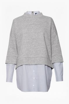 <ul> <li> Layered jersey-knit sweatshirt in grey melange with woven pinstriped shirt underlay</li> <li> Turtle neck with protruding under collar</li> <li> 3/4 length sleeves with extended long cuffed sleeves</li> <li> Cropped sweatshirt with extended shirt panel with button front and curved hem</li> <li> Back zip fastening</li> <li> UK size M length from high shoulder neck point is 80cm<&#...