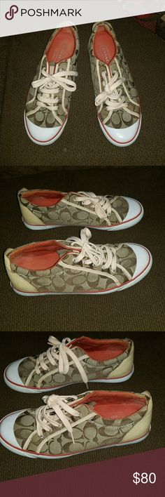 Authentic Coach signature C Barrett sneakers Authentic Coach signature C Barrett sneakers size 9, women's orange, brown and tan, great condition name tag has scrapes worn once. Coach Shoes Sneakers