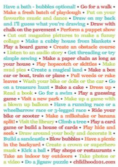 List of ideas parents can do with their children.