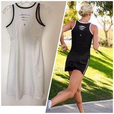 62bec630a96 ATHLETA White Black SMASH DRESS size XS Built-in Bra Tennis Running  1007