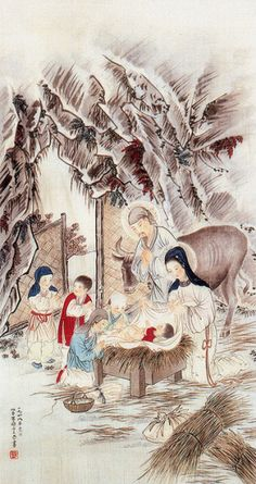 Chinese Nativity- John Lü Shih-yun, The Birth of Jesus, 1948. Chinese watercolor on silk, 40 x 74.5 cm.