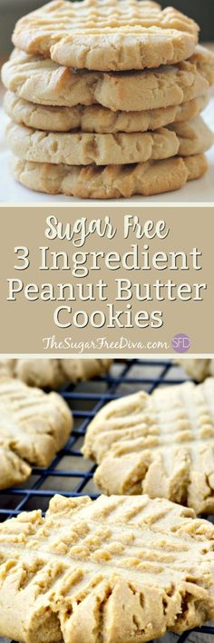 Hey- check out these cookies. The recipe for these peanut butter cookies has only three ingredients in it. You should see what those ingredients are in these peanut butter cookies that are a great snack or dessert. They are also gluten and sugar free. Diabetic Friendly Desserts, Low Carb Desserts, Diabetic Recipes, Diabetic Cookies, Cookies For Diabetics, Diabetic Foods, Meal Recipes, Diabetic Sweets, Recipes Dinner