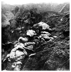 WWI: French soldiers. The dead and the living together in the trench.