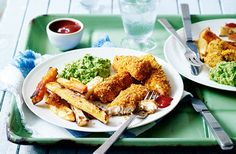 Cheat's fish fingers and rainbow chips
