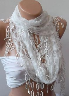 White  lace and Elegance Shawl / Scarf  with Lace Edge by womann