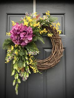 Front Door Wreath Spring Wreaths Purple Yellow Wreath