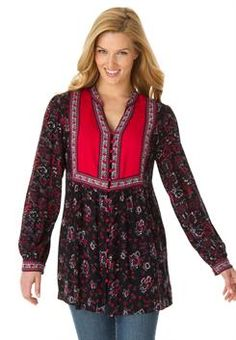 Plus Size Blouse in mixed print with pretty details and shirring #WWFallContest