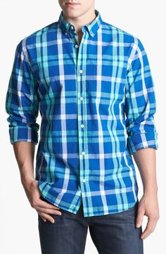 Colorful plaid button-up shirt.