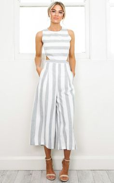 Showpo Out Dream Yourself jumpsuit in grey stripe - 18 (XXXL) Work