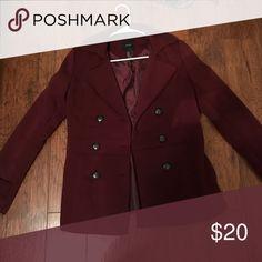 maroon peacoat beautiful maroon peacoat with buttons. never worn! Forever 21 Jackets & Coats Pea Coats