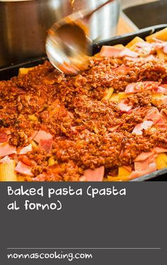 Baked pasta (pasta al forno) Italian Pasta Recipes, Italian Dishes, Pasta Dishes, Food Dishes, Fish Batter Recipe, Oven Baked Fish, Recipe Pasta, Rustic Italian, 7 Hours