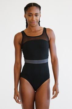 *New* Margot Leotard: Black with Grey