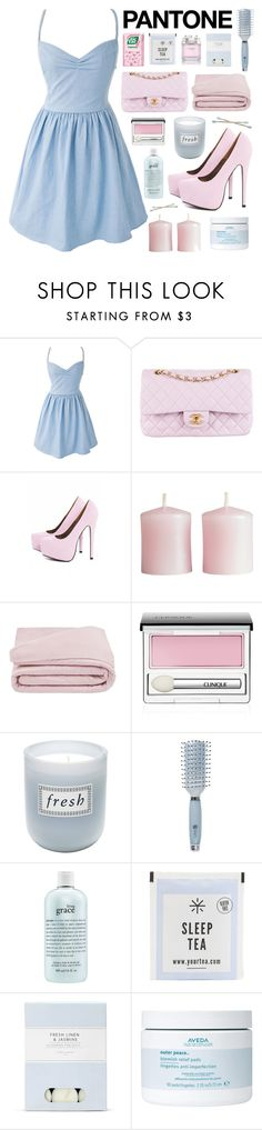 """Cotton Candy"" by ilikepurpleflowers ❤ liked on Polyvore featuring Chanel, AX Paris, H&M, Frette, Clinique, Fresh, Goody, philosophy, Laura Ashley and Aveda"