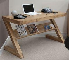 Z solid oak designer furniture laptop office PC computer desk