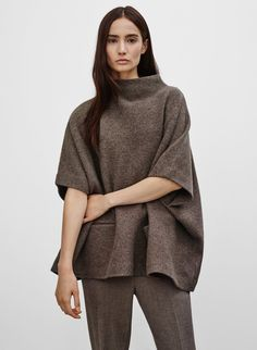 Made with plush merino wool, this cape sweater has a felted feel that's just right for chilly days. Wear it on its own as a top, or as a cozy layer over other pieces. Casual Chic, Casual Wear, Knit Skirt, Collar Shirts, Stay Warm, Fall Outfits, Indigo, Knitwear, Long Sleeve Tees