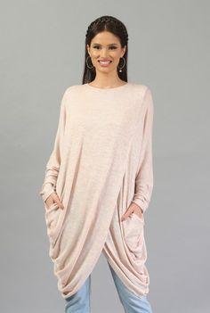 Bluza lunga roz pal B010R-M -  Ama Fashion