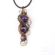 Amethyst beads wire wrapped pendant - OOAK by IanirasArtifacts