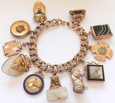 Chunky Antique Victorian Gold Filled Enamel Locket Horse Fob Charm Bracelet | eBay