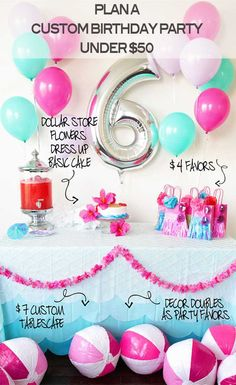 How to Throw a Custom Malibu Barbie Pool Party Birthday for Under $50