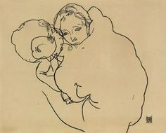 """Egon Schiele, """"Mutter und Kind""""(Mother and Child)  Gouache, watercolour and pencil on paper.  21¾ x 14 3/8 in. (55.4 x 36.5 cm.).   Executed in 1910."""