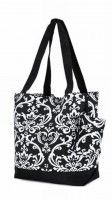 Damask Black and White Tote
