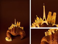 Delightful Paper Dioramas Showcase Iconic Cities Atop Famous Foods - My Modern Met