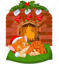 Christmas Kitten Sleeping near Fireplace