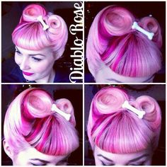 Diablo Rose: Hair Inspiration: Victory Rolls with Bettie Bangs Pin Up Hair, Love Hair, Pelo Pin Up, Pelo Multicolor, Pastel Pink Hair, Pelo Afro, Retro Hairstyles, Wedding Hairstyles, Unique Hairstyles