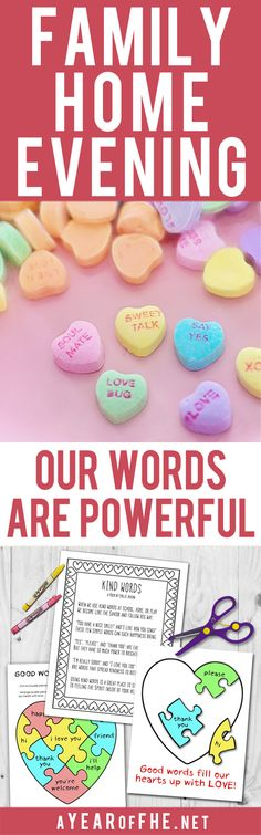 A Year of FHE // A Family Home Evening lesson about the power of our words and how to use our speech to uplift others. Includes three free printables for small kids as well as older kids and teens. Just CLICK, PRINT, and TEACH! #lds #kindness #fhe