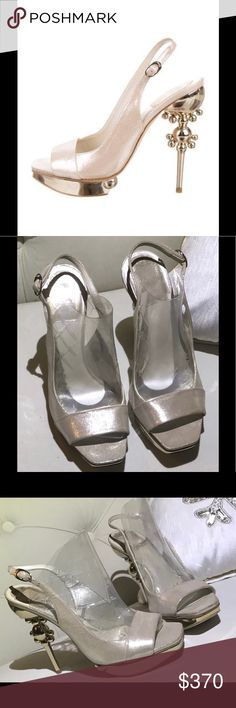 """Christian Dior Jaipur slingback Sandals Glamour at it's best! Feminine Authentic Christian Dior metallic beige leather sling back beauty's gold tone designer heels platform style structured stiletto heel buckle closures. Worn once excellent condition. 5""""  heel 1"""" in front Christian Dior Shoes Heels"""