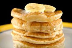 Souffle style pancakes with Easy Caramel Banana Sauce