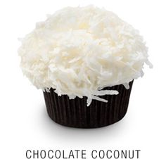 Valrhona chocolate cupcake with a vanilla   cream cheese frosting capped with a cloud of shredded coconut  Georgetown Cupcake | DC Cupcakes | Menu
