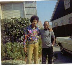 sydbbarrett:  Jimi Hendrix and his father Al. Seattle, Washington. 1968.