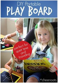 Toddler Approved!: Cheerios Box DIY Portable Play Board {+ Free Felt People Printable}. Here's a simple play board you can make for your little ones!! Perfect for quiet time #sponsored #cheerioats