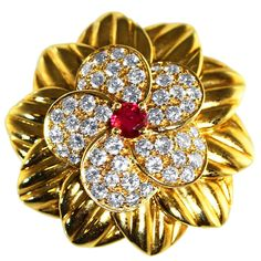 Van Cleef & Arpels Ruby Diamond Gold Brooch 1