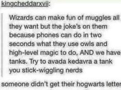 Okay but being a Muggle-born is the coolest thing a person can be right I mean you can do magic but at the same time all the fun things that Muggles do.  And those pure-blood bitches think they rule the world >:)