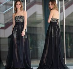 2014 Strapless Sequins Sexy Sheer Chiffon Black Prom Prom Dresses | Buy Wholesale On Line Direct from China